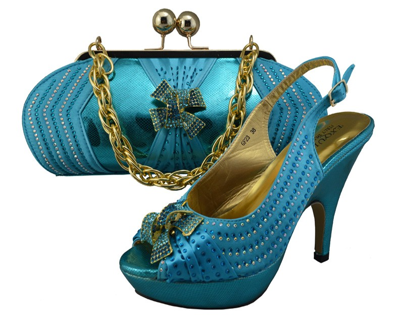 ФОТО New Design Italian Shoe With Matching Bag Fashion Sky Blue Italy Shoe And Bag To Match African Women Shoes For Party GF23