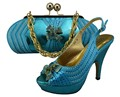 New Design Italian Shoe With Matching Bag Fashion Sky Blue Italy Shoe And Bag To Match African Women Shoes For Party GF23