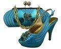 Nuevo Diseño Italiano Zapatos Con Bolso A Juego de Moda Blue sky Italia zapatos Y la Bolsa Para Que Coincida Con Las Mujeres Africanas Para El Partido GF23