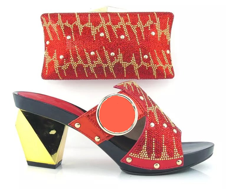 Italy ladies Shoes And Bag Set African High Quality Shoes And Matching Bags For Party/Wedding RED COLOR 9CM HEELS