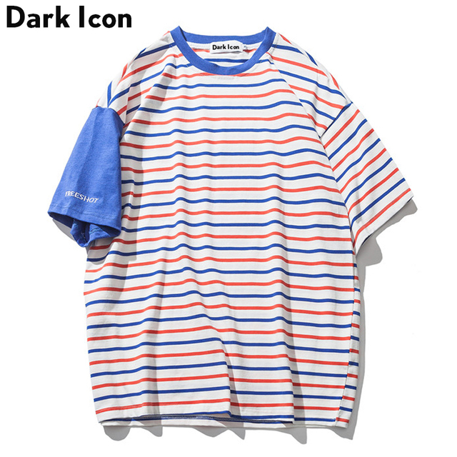 f4a3bb46a2e DARK ICON Patchwork on Sleeve Striped Tee Shirts Men Short Sleeved T-shirt  2018 Summer Oversized T shirt High Street Tees