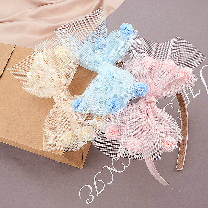 Boutique ins 12pcs Fashion Cute Gauze Pom Pom Bowtie Hairbands Solid Color Balls Lace Bowknot Hair