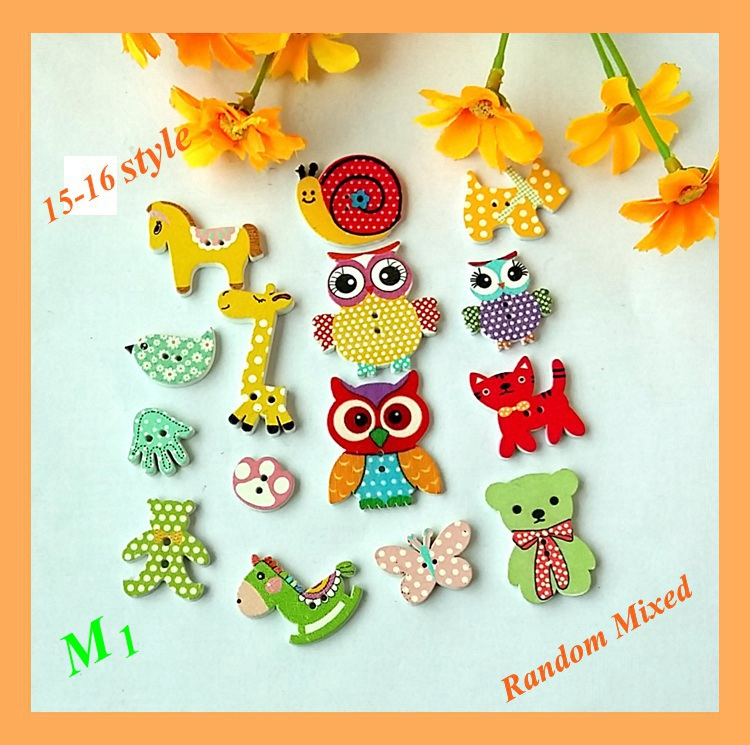 """50pcs Mixed Wooden Sewing Buttons Scrapbooking Cartoons /""""Baby/"""" 2 Holes 36mm"""