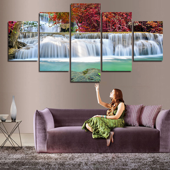 New Hot Print Oil Paintings Waterfall Landscape Picture Canvas Painting On Wall Pictures For Living Room Home Decor Unframed art