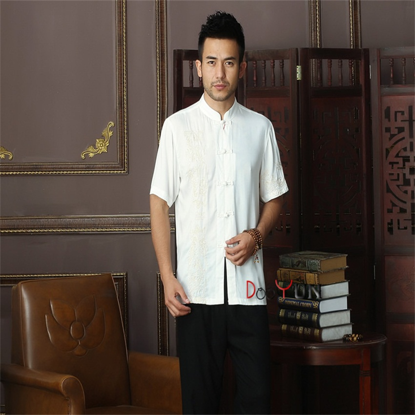 Men's Clothing Casual Shirts Reasonable Spring Toys White Chinese Mens Cotton Kung Fu Shirt Top Novelty Embroidery Tang Suit Clothing Size S M L Xl Xxl Xxxl