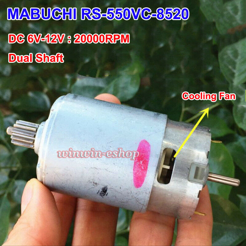 MABUCHI RS-550VC-<font><b>8520</b></font> RS-550VC-7525 <font><b>DC</b></font> 12V 20000RPM High Speed <font><b>Motor</b></font> DIY Electric Drill Tools Double TWO shaft image