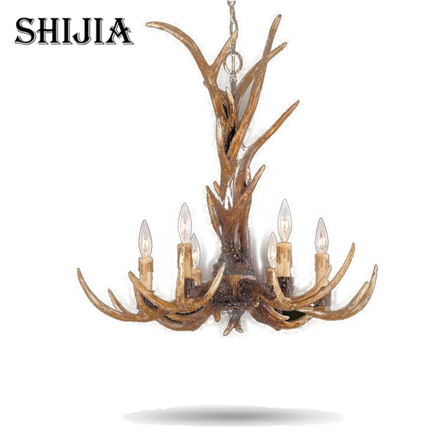 Europa Land 6 Kopf Kerze Geweih Kronleuchter Amerikanischen Retro Harz  Hirsch Horn Lampen Dekoration Beleuchtung E14