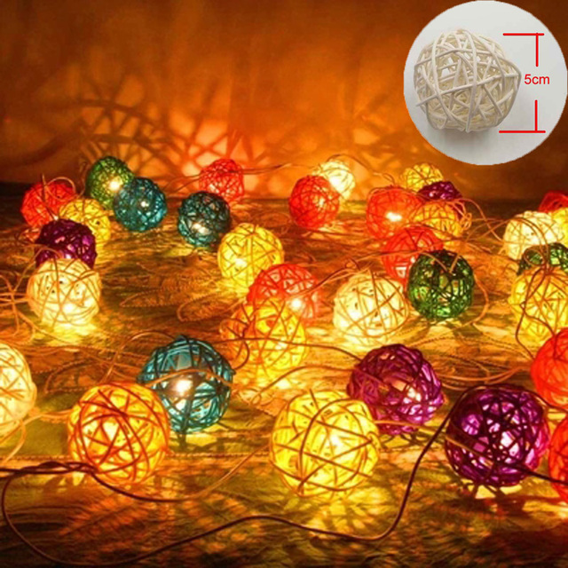 Decorative Rattan Balls Simple 5M10M Led Christmas Lights Outdoor Indoor 5Cm Decorative Rattan Design Ideas