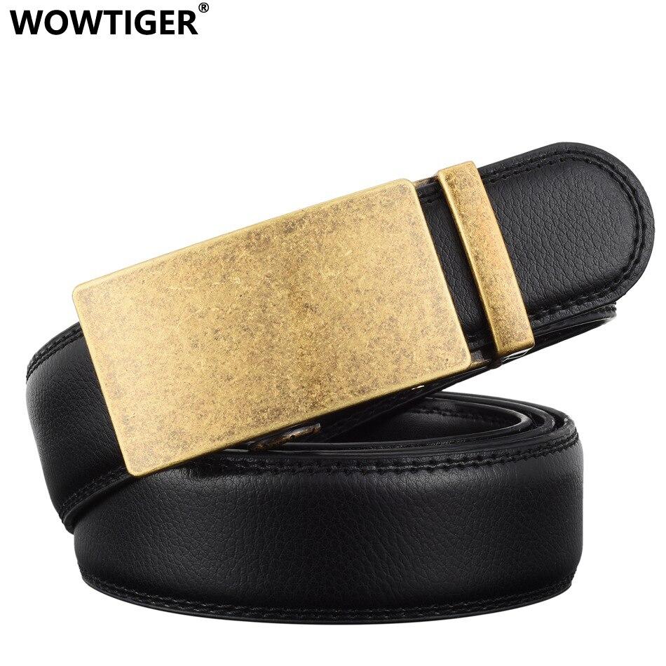 WOWTIGER Módní značkové pásy pro muže Posuvná spona Ratchet pasu Luxusní kožený opasek Automatický ceinture homme cinto