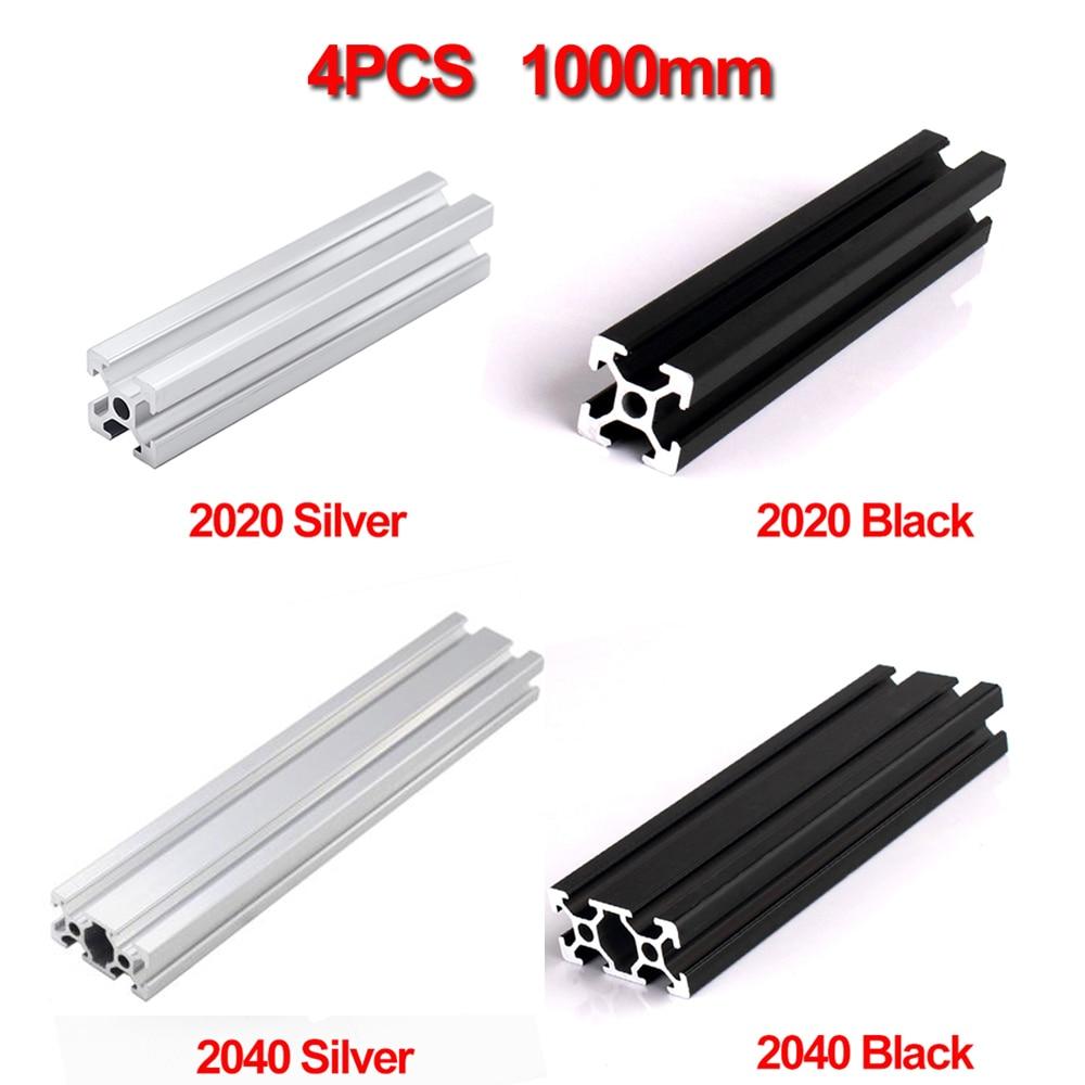 4pcs/lot Waterproof 1000mm 2020 2040 Aluminum Extrusion Profile, Silver Or Black Color