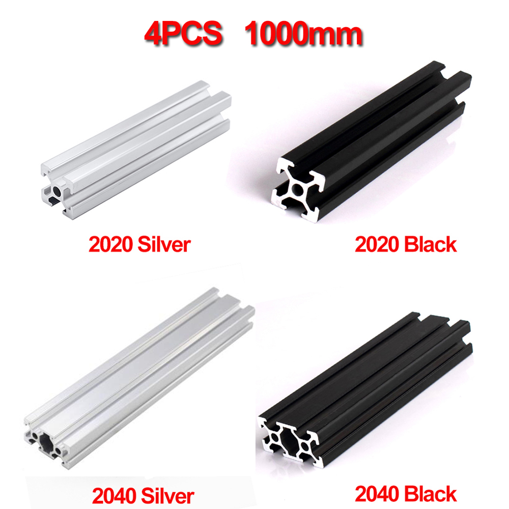 4pcs/lot Waterproof <font><b>1000mm</b></font> <font><b>2020</b></font> 2040 Aluminum Extrusion <font><b>Profile</b></font>, Silver or Black Color image