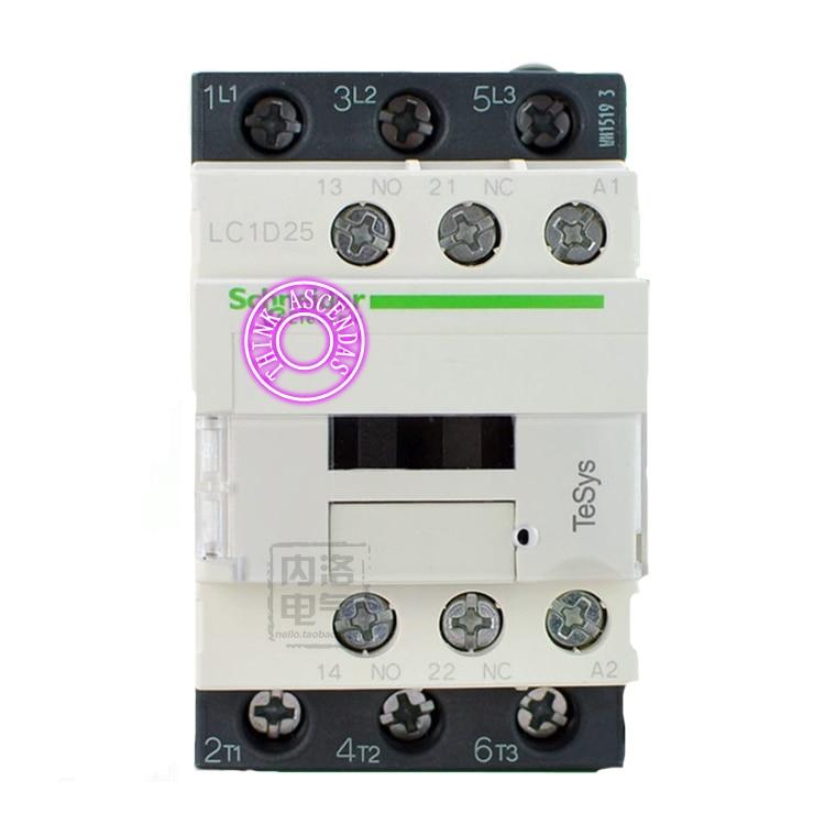 LC1D Series Contactor LC1D25 LC1D25KD 100V LC1D25LD 200V LC1D25MD 220V LC1D25ND 60V LC1D25PD 155V LC1D25QD 174V LC1D25ZD 20V DC new cad50bdc dc24v tesys d series contactor control relay 5no 0nc