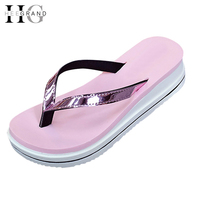 HEE GRAND Summer Slippers Gold Silver Flip Flops Beach Casual Shoes Women XWZ3670