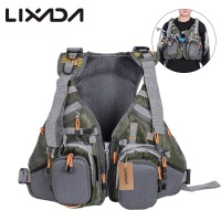 Lixada 3 In 1 Mesh Fly Fishing Vest and Backpack Breathable Outdoor Fishing Safety Life Jacket Fisherman Utility Vest