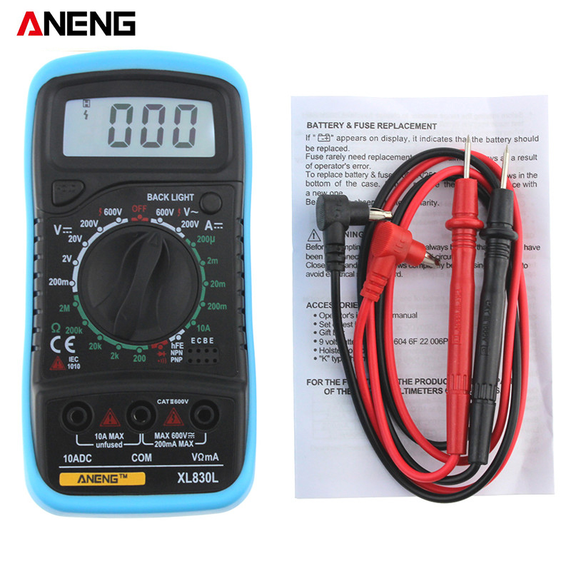 XL830L Portable Digital Multimeter multi meter for AC / DC Voltage meter dc ammeter Resistance Tester Blue Backlight цена 2017