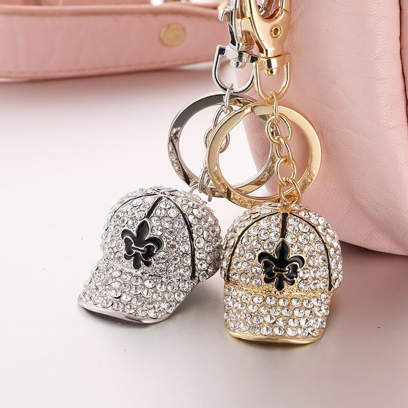 Crystal Hat Summer Keyring Rhinestone Crystal Charm Fashion Women Beautiful Jewelry Bag Pendant Keychain Gift