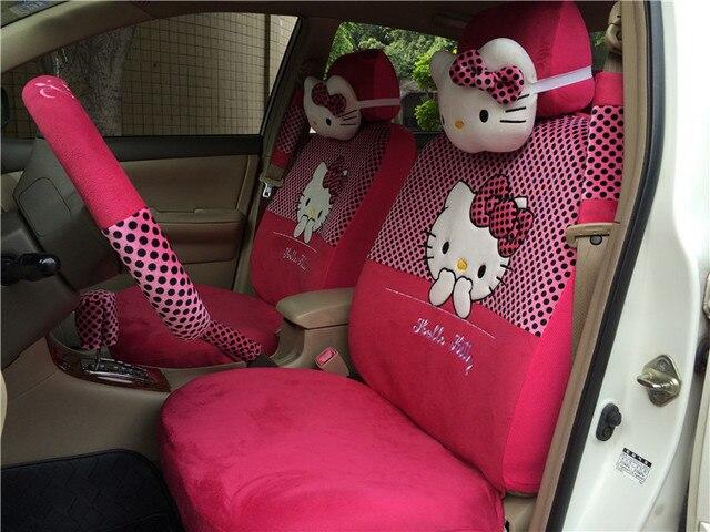18 PCs Hello Kitty Dark Pink Rose Black Polka Dot Car Seat Covers Belt