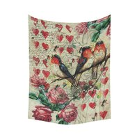 Animal Wall Art Home Decor Love Bird On Tree Branch Vintage Style Tapestry Wall Hanging Art