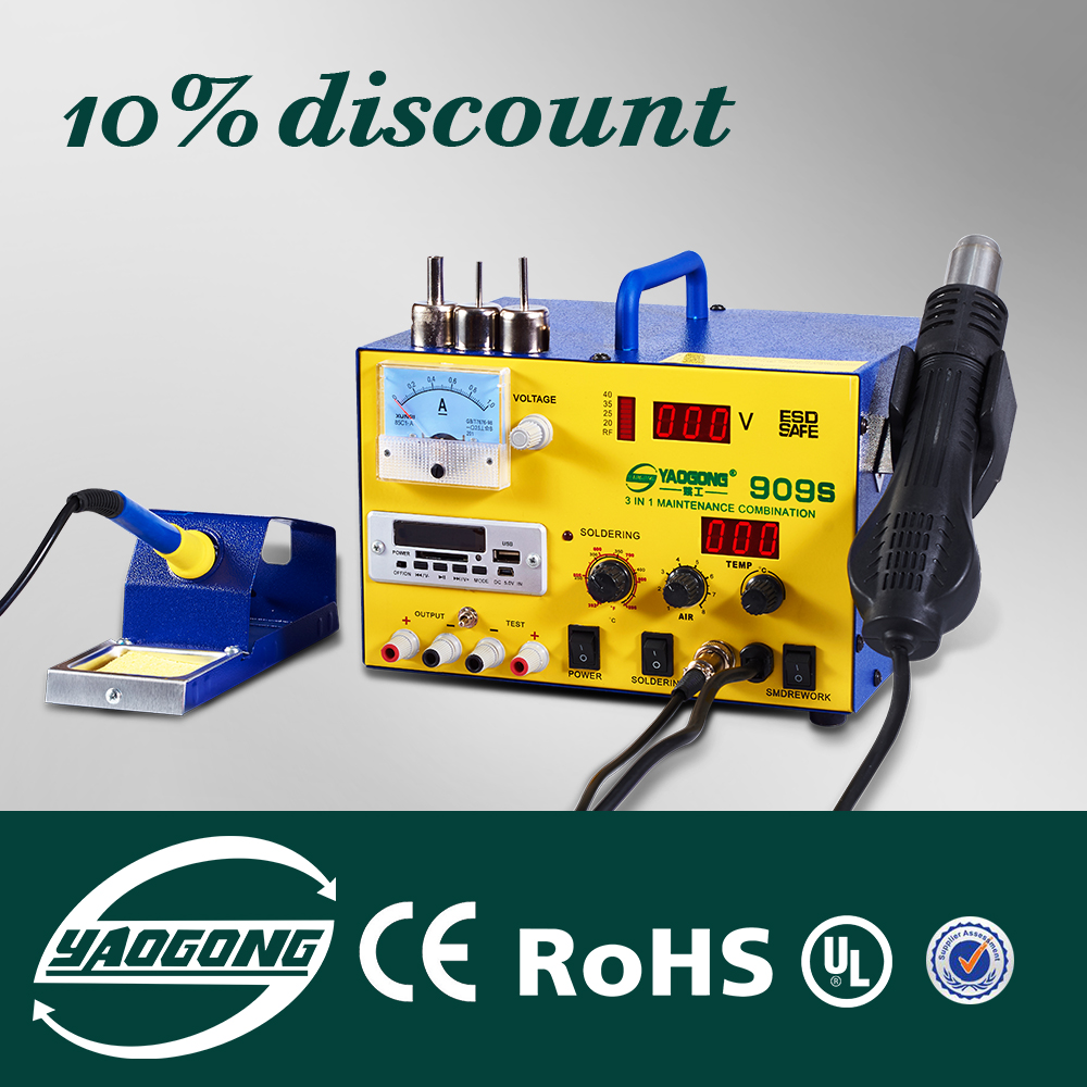 YAOGONG Big Deal 909S Autocut hot air 3 in 1 DC power supply soldering rework stationYAOGONG Big Deal 909S Autocut hot air 3 in 1 DC power supply soldering rework station