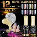 #60752   CANNI Factory 12ml Platinum Gel Shining 12 colors Glitter  UV Nail Gel Polish