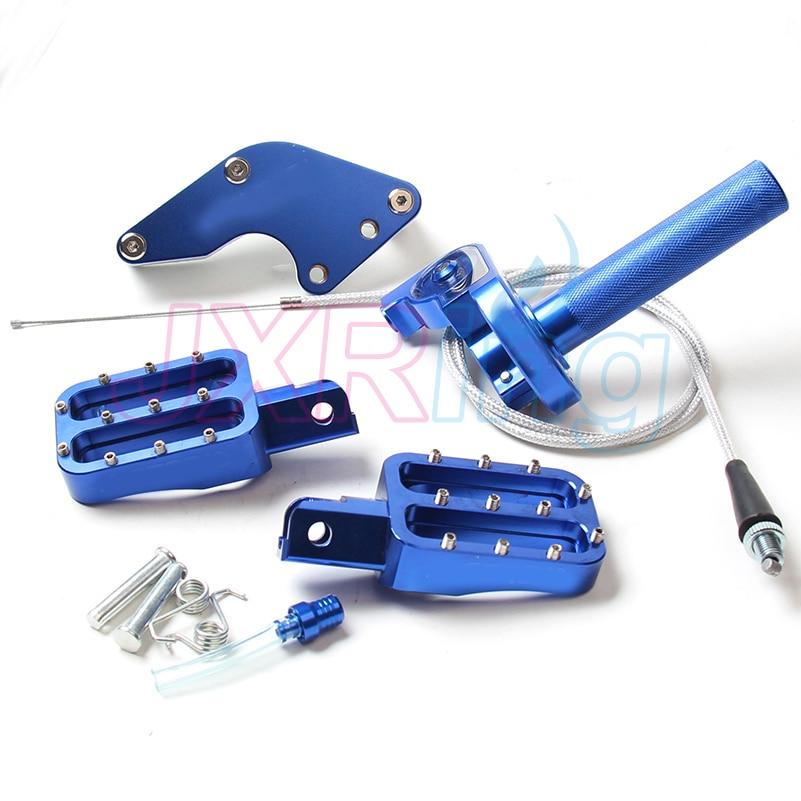 CNC motorcycle parts chain set&foot pegs%<font><b>handlebar</b></font> throttle twist grips& cap vent for CRF KLX TTR 50 70 110 pit bike parts