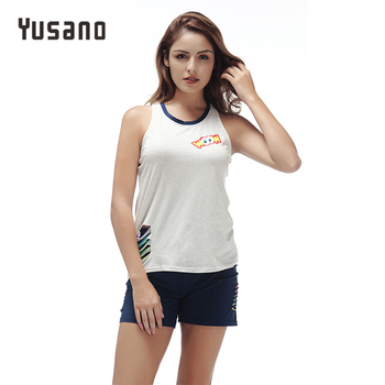 Yusano Women's Pajamas Sets Shorts Summer Cotton Sleepwear Sleeveless Pyjama Set Hollow Out Letter Print Home Clothes for Women chic hollow out letter opening ring for women