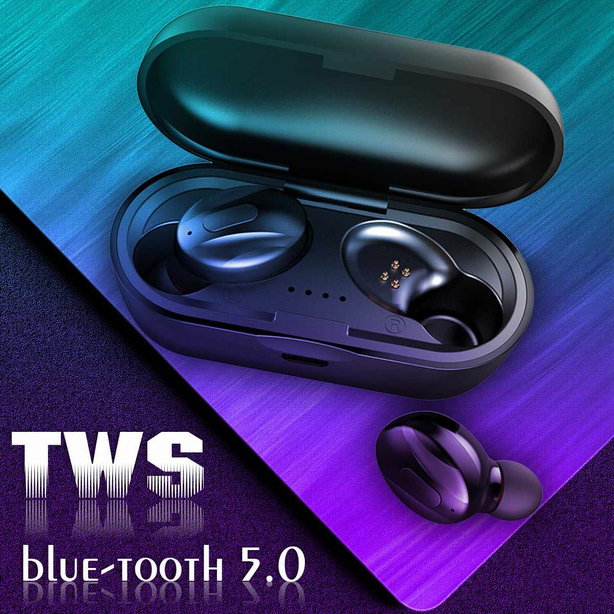 TWS bluetooth 5.0 Earphone Headset Twins Stereo Wireless Earbus HIFI Sound Sport Gaming Earphones with Microphone Charging Box