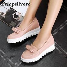 Новые весенние милые туфли корейской версии с бантом женская