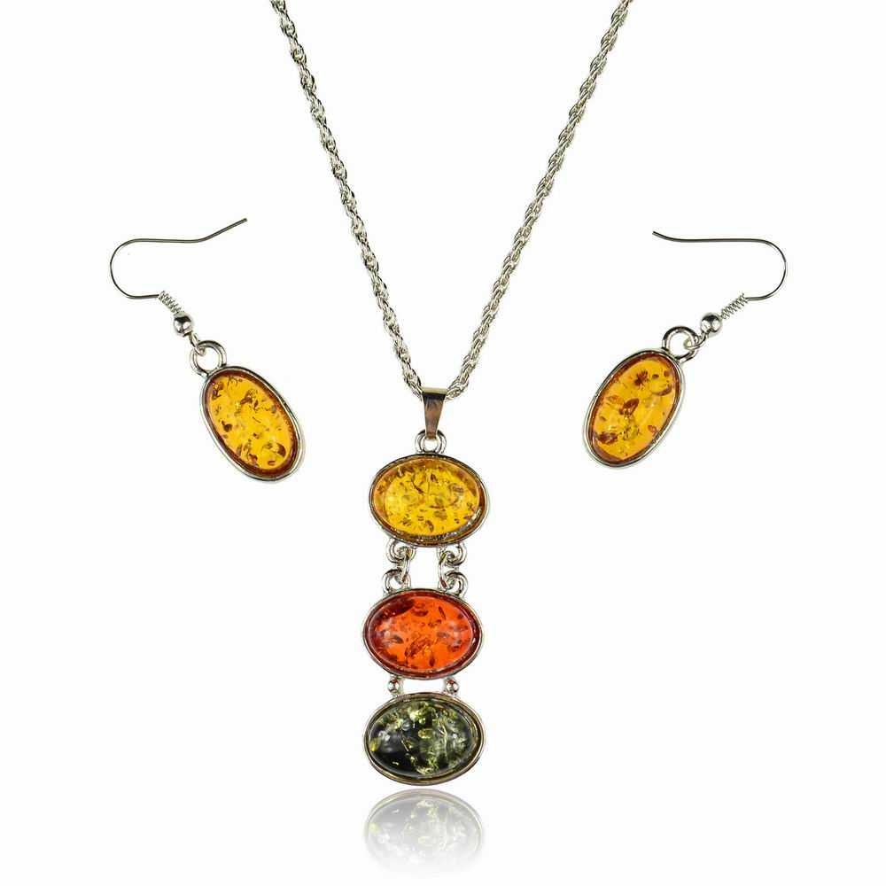 807aa45cd3 Hot Sales Artificial Amber Jewelry Sets Necklace Women Fashion Necklaces &  Pendants Matching Crystal Earrings Set For Women