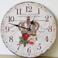 New Retro Crown Design Wall Clock Solid Wood Frame Wall Clock Quiet Bell Classic Home