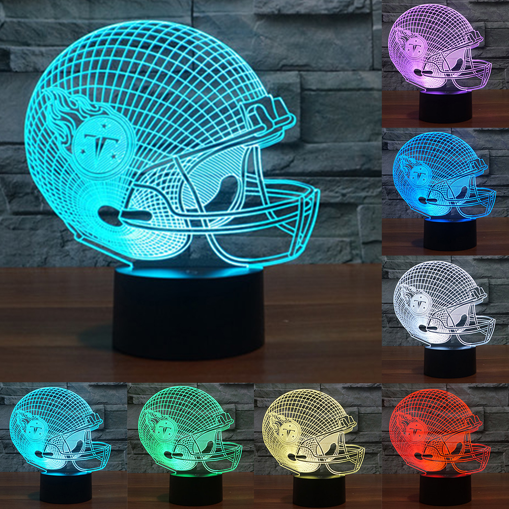3d lamp LED Tennessee Titans Team Neon Light Signs 3D Football Helmet Lamp USB touch sensor LED Table Lamp Night Lamp IY803686
