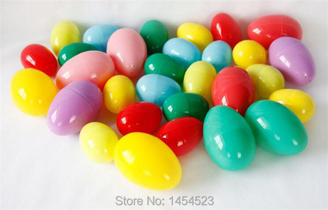 10pcs Plastic Easter Eggs For Decoration Solid Color Capsule Gift Toy Container