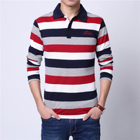 New 2017 Men's Boutique Cotton Stripe Leisure Fashion Long-sleeved POLO Shirts / Male High Quality Casual Lapel POLO Shirts M