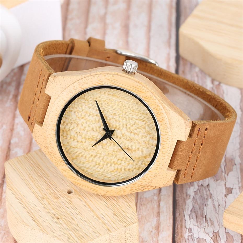 YISUYA Nature Wood Bamboo Watch მამაკაცის - მამაკაცის საათები - ფოტო 6