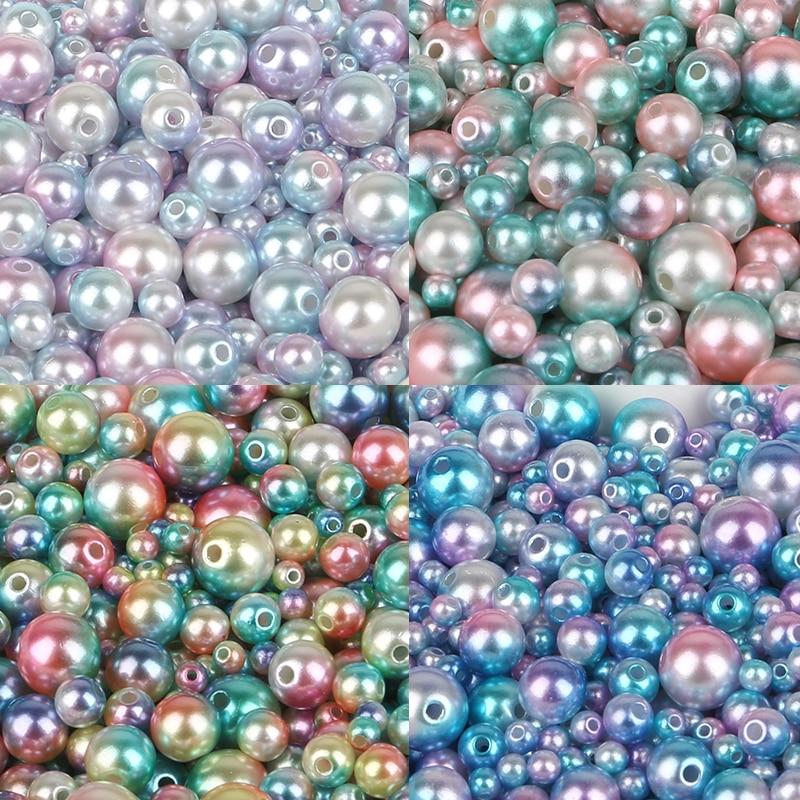 4/6/8/10 мм Mix Радуга Цвет Круглый ABS имитация жемчуг для Для женщин свободные шарики diy ювелирных Цепочки и ожерелья решений