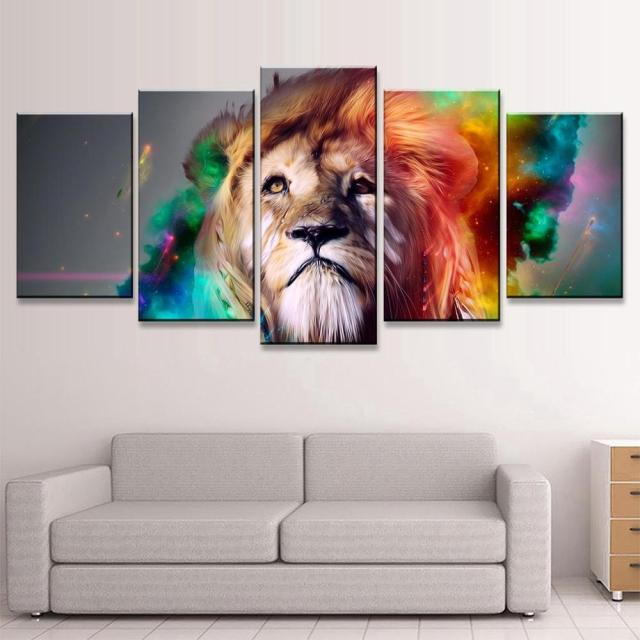 Colorful Lion Personality Canvas Painting Wall Art Home Decor The Paintings  5 Piece Canvas Art Wall