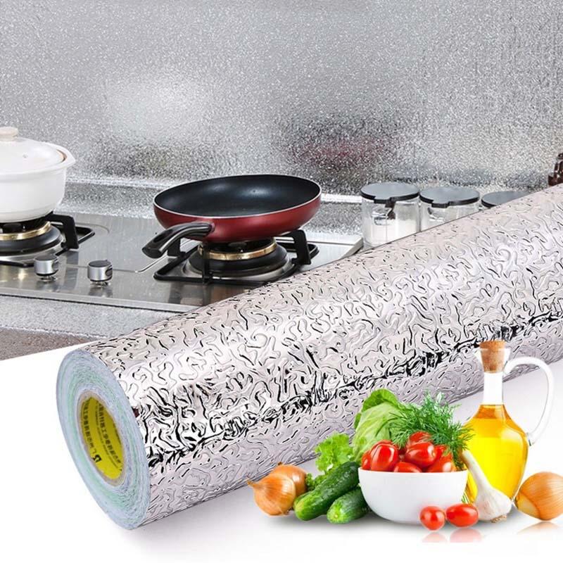 100 см наклейки на стену, обои для кухни, алюминиевая фольга, маслостойкая плита, противообрастающая, высокотемпературный самоклеящийся домашний декор|Наклейки на стену|   | АлиЭкспресс
