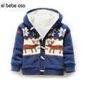 el bebe oso Baby Girls Sweater Cardigan Ropa De Bebe Winter Fleece Warm Christmas Deer Printed Boy Knitted Tops Hooded Coat XL34