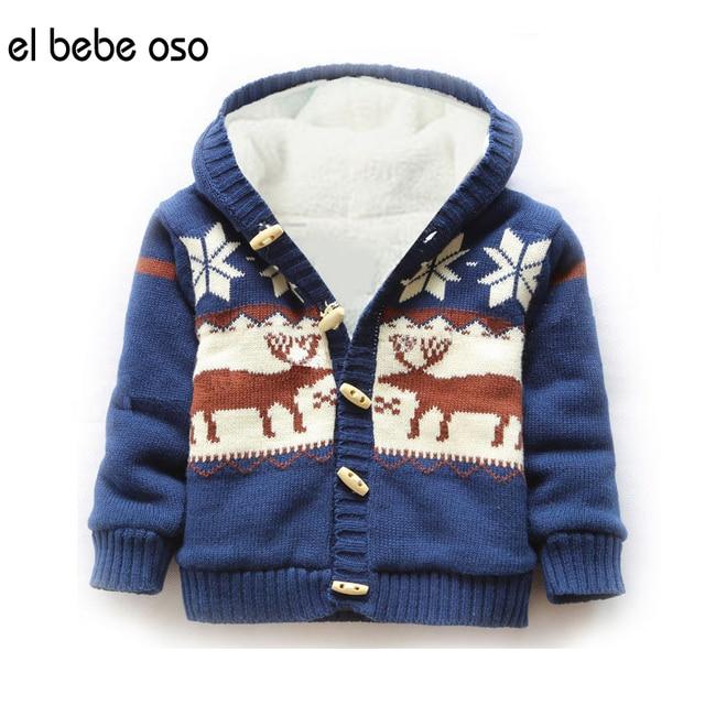 el bebe oso Baby Girls Sweater Cardigan Ropa De Bebe Winter Fleece Warm Christmas Deer Printed Boy Knitted Tops Hooded Coat XL34
