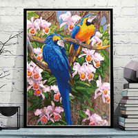 Two Parrots Framless Picture Home Decor DIY Acrylic Oil Painting By Numbers Wall Art DIY Canvas