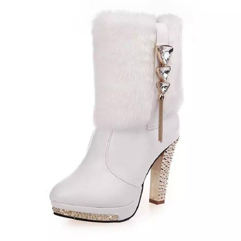 2018 hiver nouvelles bottes de femmes strass glands de femmes à talons hauts discothèque femmes de plus la velours bottes blanc 1102
