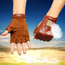 2018 New Mens Half Finger Real Leather Gloves Driving Unlined Sheepskin Fingerless Fitness NA1
