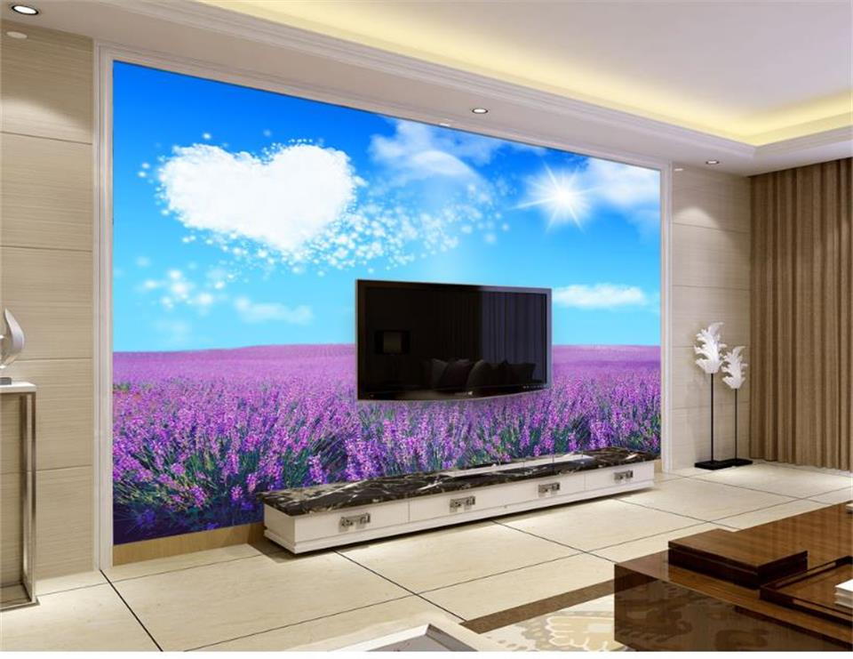 custom 3d photo wallpaper mural living room lavender natural scenery 3d painting sofa TV background wall non-woven wall sticker custom mural natural scenery wallpaper forest 3d landscape background wall mural living room bedroom wall paper home decoration