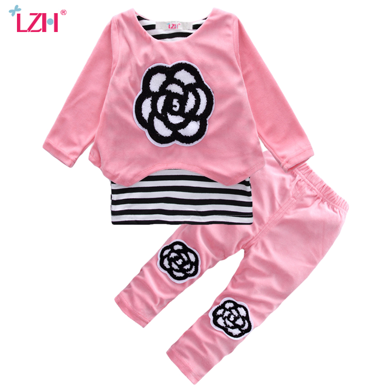 LZH Newborn Clothes 2017 Autumn Winter Baby Girls Clothes Set T-shirt+Pants 2pcs Baby Girls Outfits Suit Kids Infant Clothing масло holika holika soda tok tok clean pore deep cleansing oil 150 мл