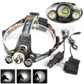 Boruit 3 LED XM-L XML T6 +2R5 LED lampe frontale 5000Lumen Rechargeable Headlamp Headlight Head lamp Light+ AC/Car Charger