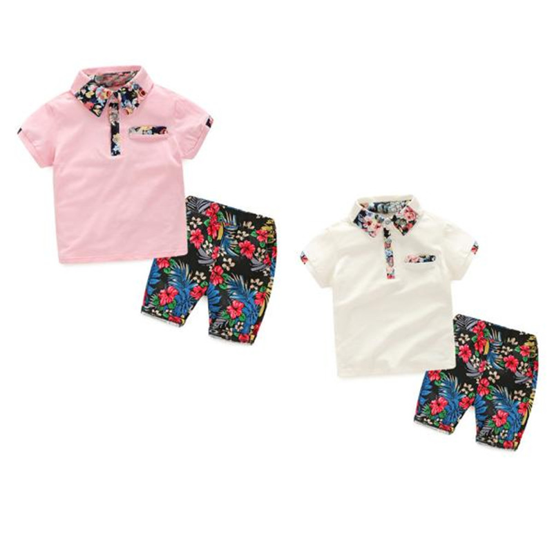 2018 NEW Summer fashion Comfortable1Set Summer Children Baby Boys T-shirts Tops+Floral Pants Outfits  Children Clothing p5 настольная лампа marksloid 104033