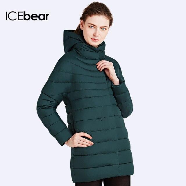 ICEbear 2016 Женский модный пуховик Зимняя верхняя одежда Средний длины Куртка съемными рукавами 16G662