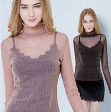 Spring Size S-3XL Women Turtleneck Slim Soft Full Sleeve Shinning Transparent Tee Shirts Lady High Quality Elastic Mesh Tops