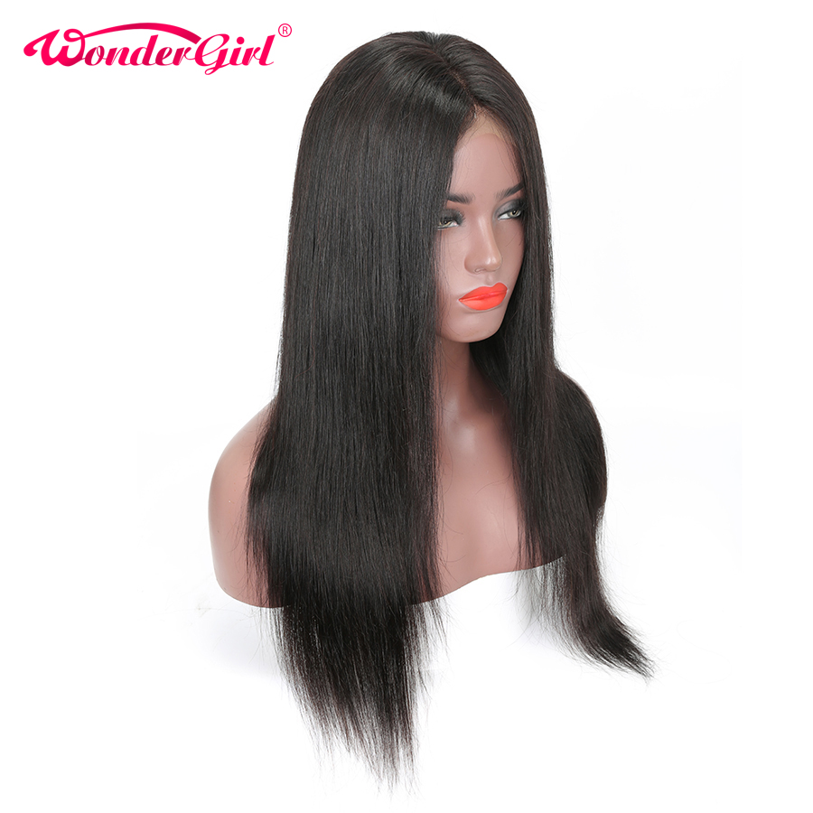 13X4 Lace Front Human Hair Wigs For Women Black Pre Plucked Remy Brazilian Straight Lace Front