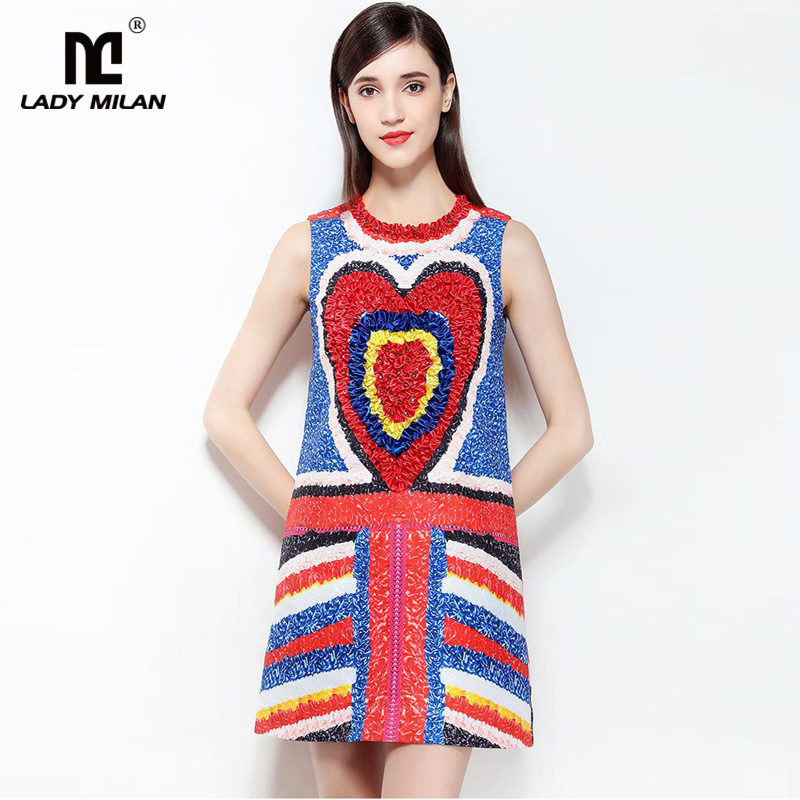 New Arrival 2018 Womens O Neck Sleeveless Beaded Appliques Printed Color Block Fashion Short Casual Dresses